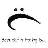 Bass Clef is Feeling Low - Funny Music Cartoon by Hannah Sterry