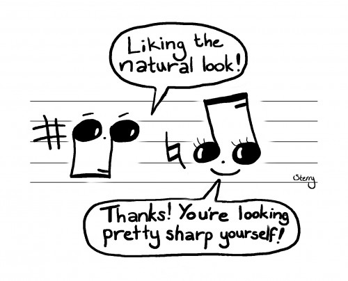 """Musical Compliments - A music cartoon by Hannah Sterry (Sterry Cartoons). Musical Compliments A silly musical cartoon, showing two music notes chatting. The conversation reads: """"Liking the natural look!"""" """"Thanks! You're looking pretty sharp yourself!"""" It's just a bit of musical fun. Would make an ideal gift for anyone musical; music students, teachers and lovers of amusing puns! Designed by Hannah Sterry. Website: http://hannahsterry.com Follow Sterry Cartoons on: Twitter 