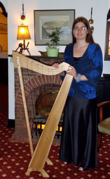 Harpist Hannah Sterry at The Cottage Hotel, Hope Cove.