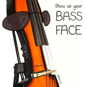 Show us your Bass Face! - Funny, humorous music photo-cartoon by Hannah Sterry.