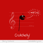 Crotchety Crotchet - A music joke cartoon by Sterry Cartoons.