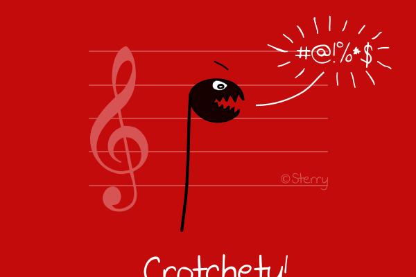 Crotchety Crotchet - A music joke cartoon by Sterry Cartoons.