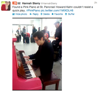 Pink Piano at St Pancras International Station, London. Played by Howard Kahn.