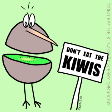 "Don't Eat The Kiwis: Amusing t-shirt design. Funny cartoon featuring a worried kiwi bird standing next to a sign that reads ""Don't Eat The Kiwis""! Would make an ideal gift for anyone who loves comics, wildlife or amusing t-shirts. Designed by Hannah Sterry."