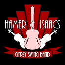 Hamer & Isaacs logo by Hannah Sterry. Hamer & Isaacs play volcanic, swinging gypsy jazz. Whilst portraying the influence of Django Reinhardt and the Hot Club of France, the unique addition of Rosie Corlett's soaring, flaming vocals is guarenteed to turn the thermostat up a notch. Rich Hamer (lead guitar) provides cut, thrust, panache and inspiration, and Mel Brindle Scullion (swing violin) utilises her impeccable classical pedigree to lend virtuosity to the flair of her improvisation. Julian Isaacs (rhythm guitar), a veteran of the gypsy jazz scene for over three decades, and the animated and vivacious lines of Howard Kahn (double bass) provide the driving force that is the rhythm section. Hamer & Isaacs Gypsy Swing Band are available as a guitar duo, an instrumental or vocal trio, or as a full quintet. Set the controls for the heart of swing and witness them for yourselves!