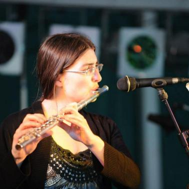 Hope for Howard Event on Kingsbridge Bandstand. Hannah Sterry on flute. Image copyright 2013 Mark L Jones.
