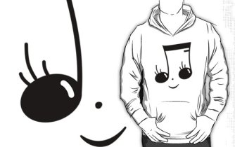 Smiling Music Face Hoodie - Gifts for music teachers and students by Hannah Sterry (Sterry Cartoons).
