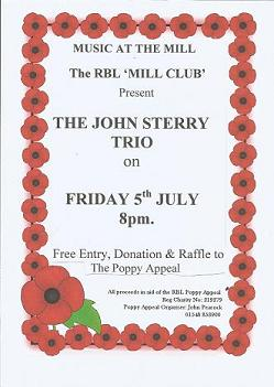 LIVE JAZZ tonight at the Mill Club, Kingsbridge from 'The John Sterry Trio' (aka. The Sterrys). 8pm Start| Free Entry