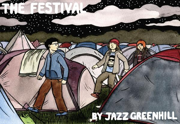The cover illustration of Jazz Greenhill's comic 'The Festival'. Published by Avery Hill Publishing.
