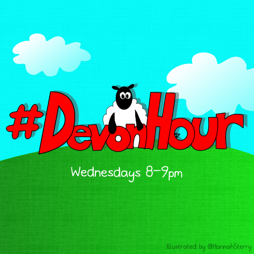 #DevonHour cartoon by Sterry Cartoons. Illustrated by Hannah Sterry. Created for Devon Hour business and networking chat on twitter.