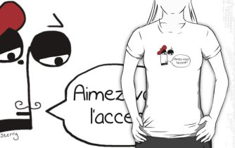 """Aimez-vous l'accent?"" French Music Tee by Sterry Cartoons. Funny jokes, gifts and shirts for music teachers and students."