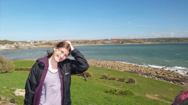 Hannah Sterry, looking slightly ridiculous at St Michael's Mount, Cornwall.