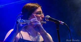 Hannah Sterry performing flute with Ansa Back at the Monster Mash 2014. Photo by Brett Hornby.