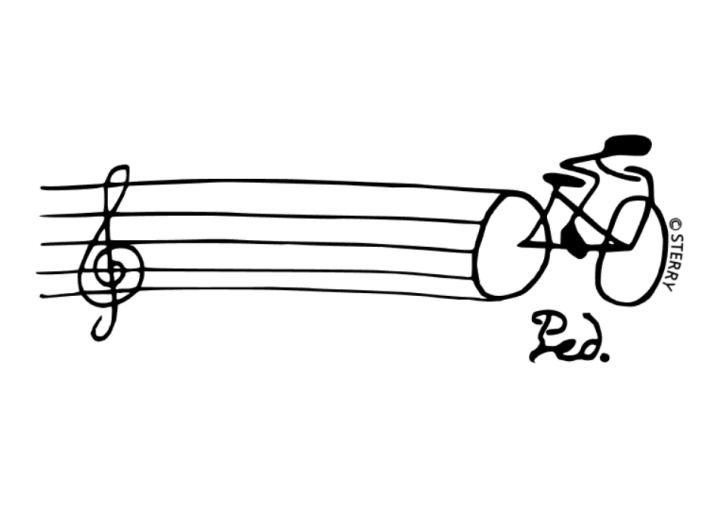 Q: How do musicians get to orchestra? A: They pedal! A cartoon of a man on a bike, cycling along a music staff with the direction Ped. (pedal) written underneath him. Copyright belongs to Hannah Sterry (Sterry Cartoons).